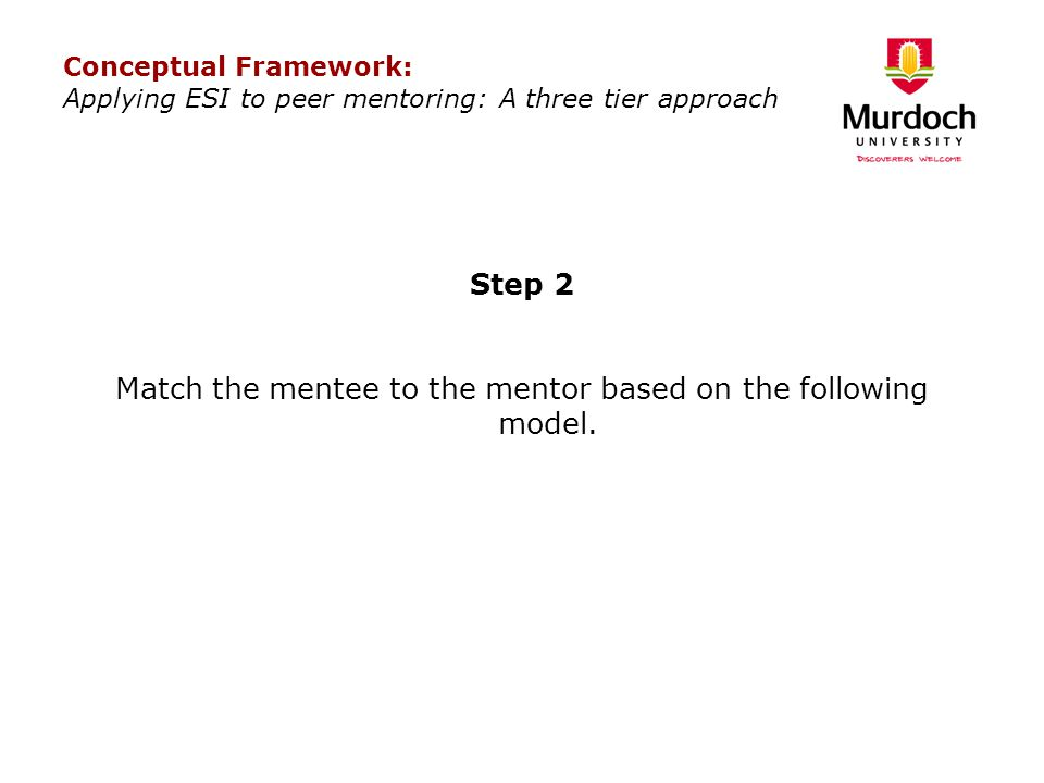 Step 2 Match the mentee to the mentor based on the following model.