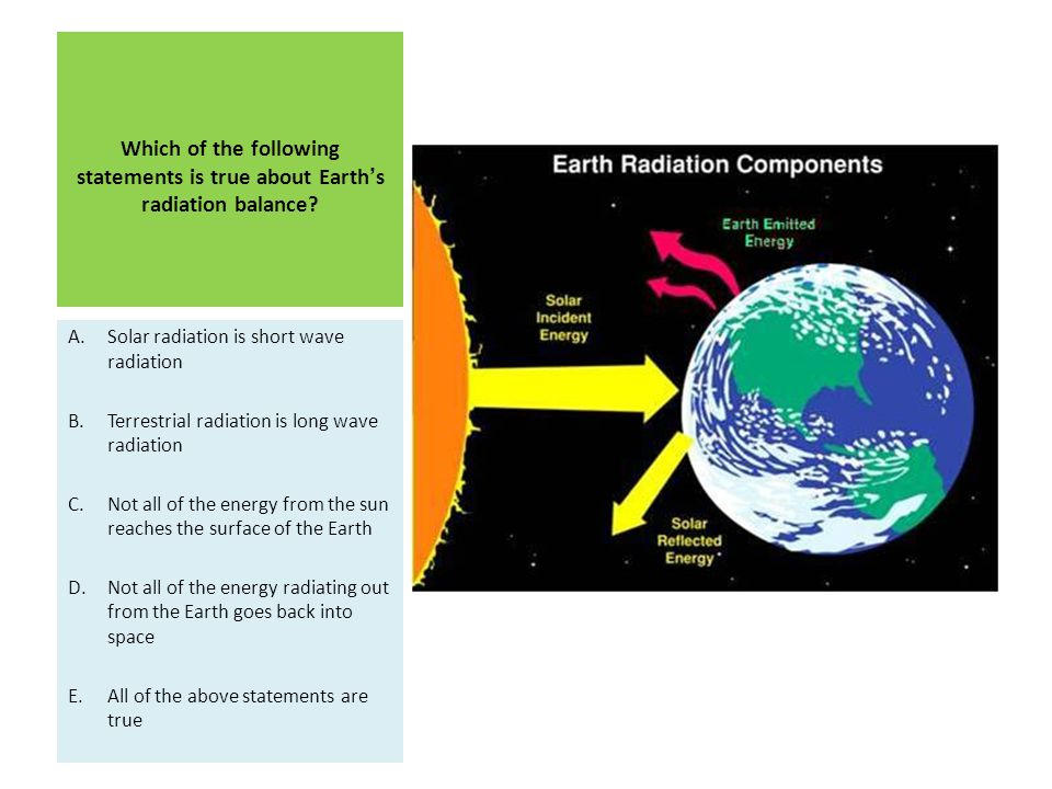 Which of the following statements is true about Earth's radiation balance
