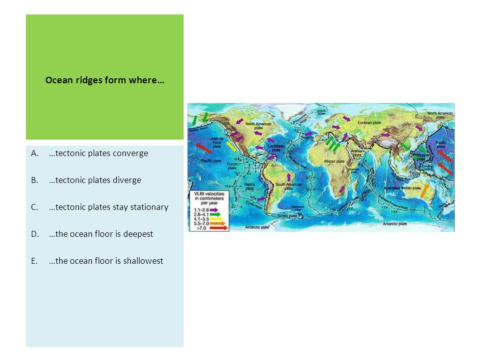 Ocean ridges form where…