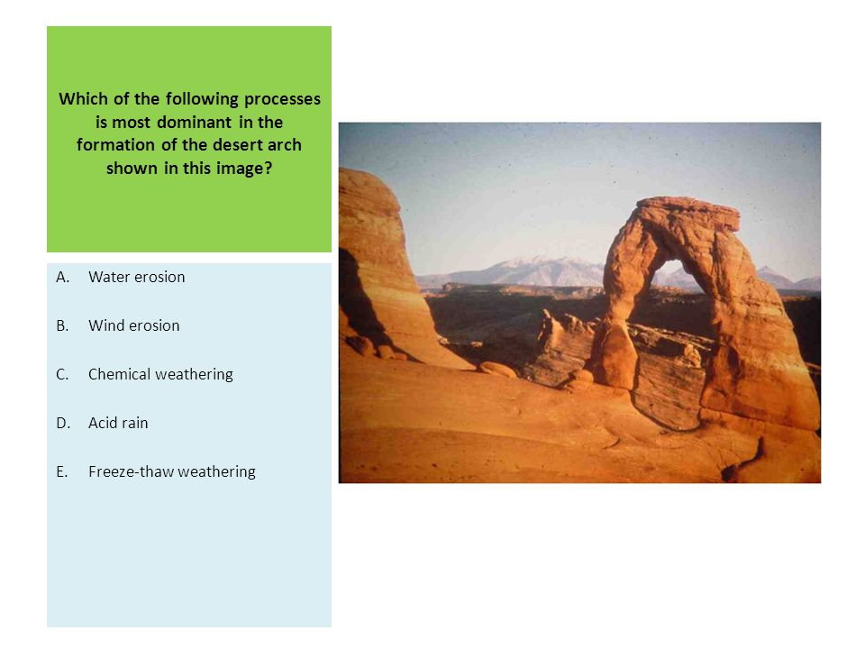Which of the following processes is most dominant in the formation of the desert arch shown in this image