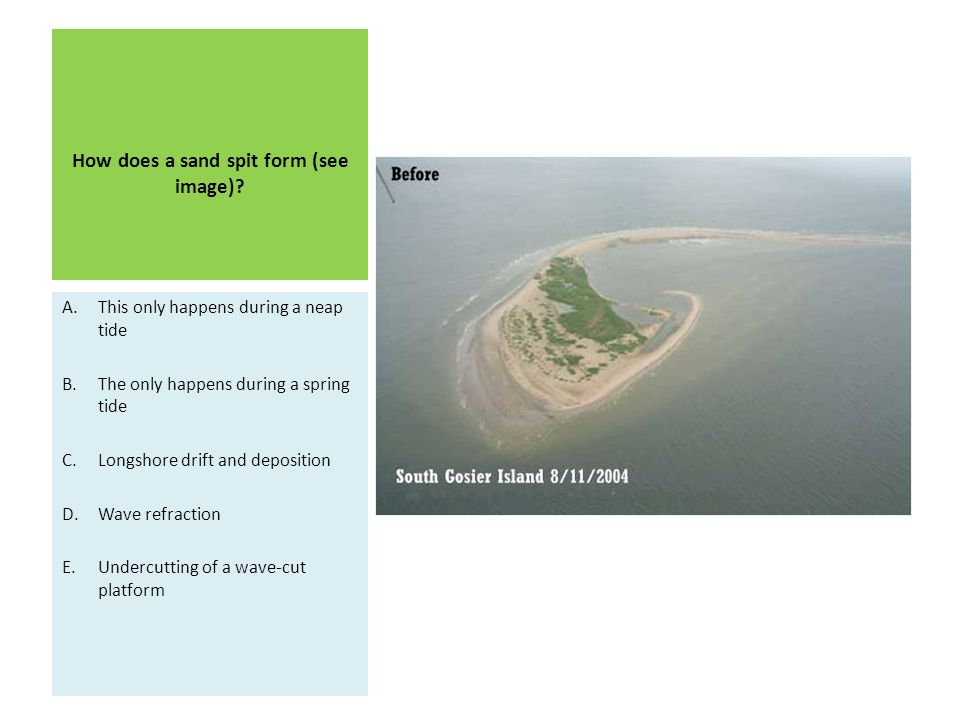 How does a sand spit form (see image)