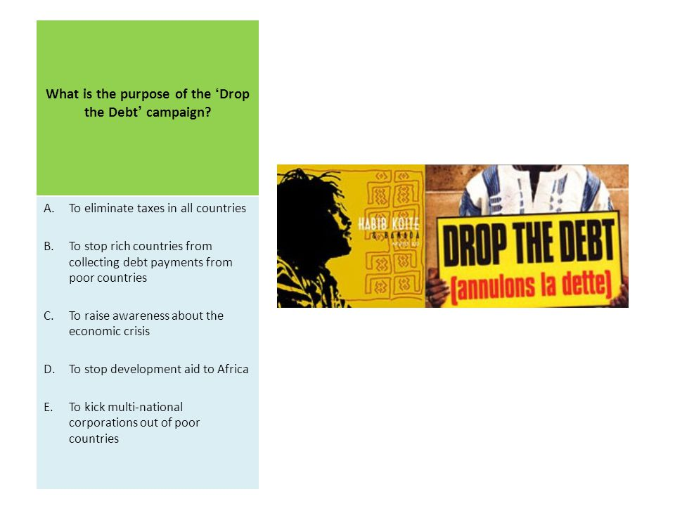 What is the purpose of the 'Drop the Debt' campaign
