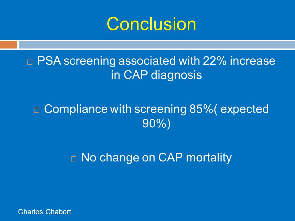 Conclusion PSA screening associated with 22% increase in CAP diagnosis