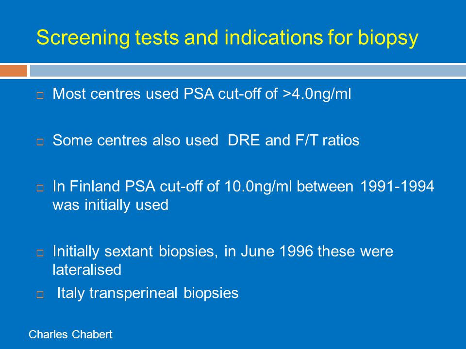 Screening tests and indications for biopsy