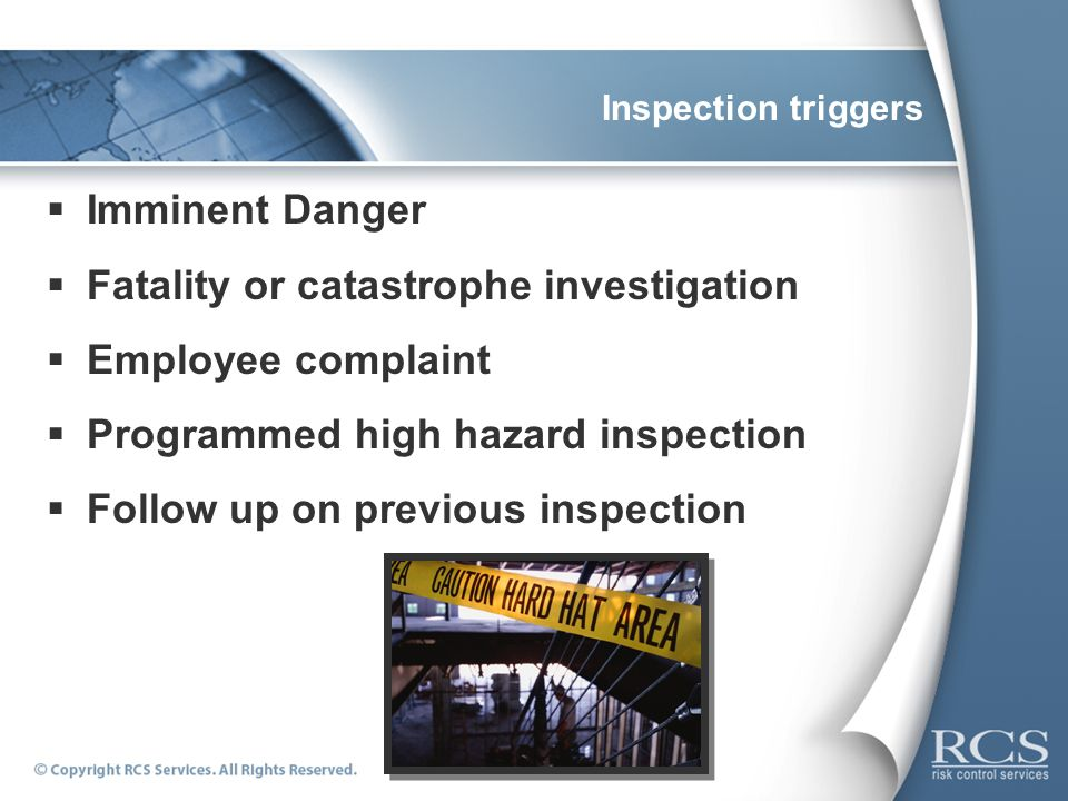 Fatality or catastrophe investigation Employee complaint
