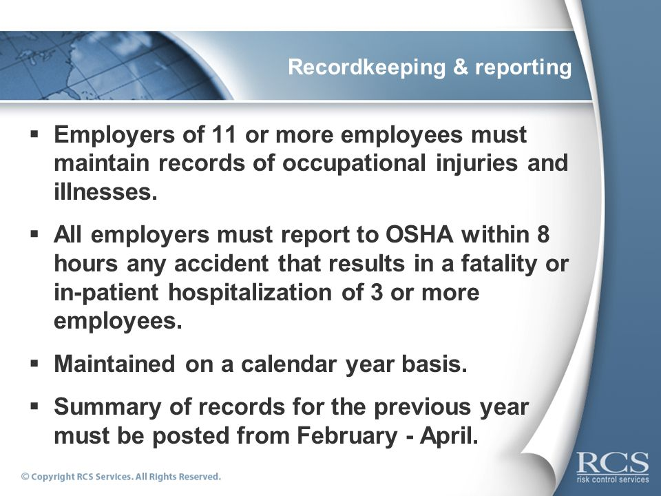 Recordkeeping & reporting
