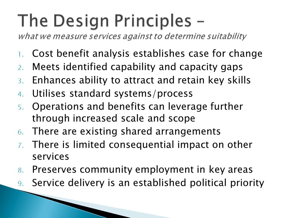 The Design Principles – what we measure services against to determine suitability