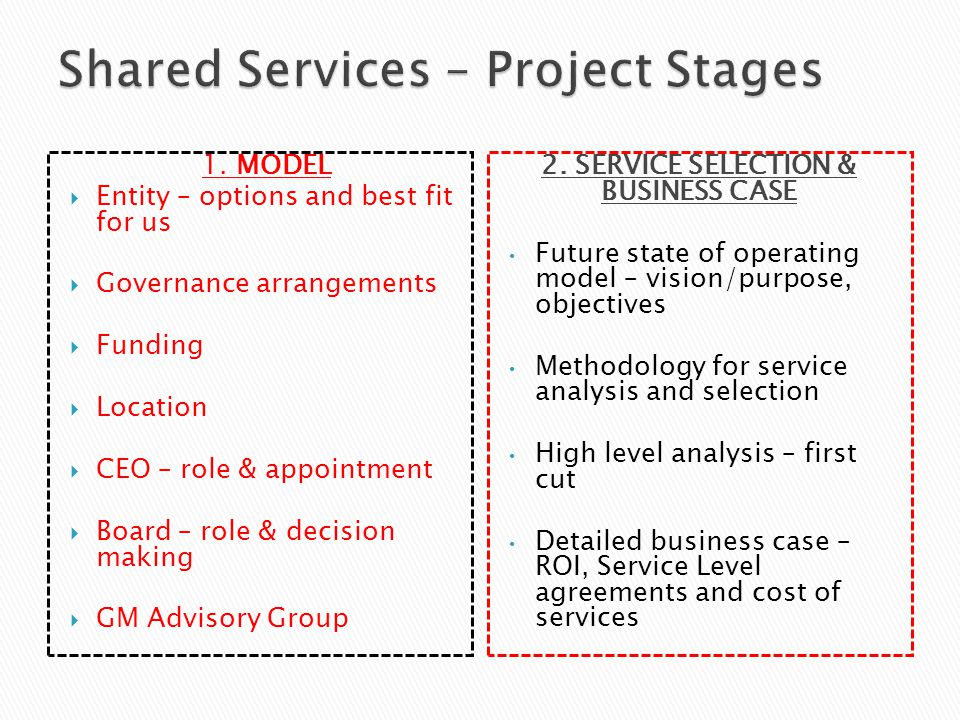 Shared Services – Project Stages