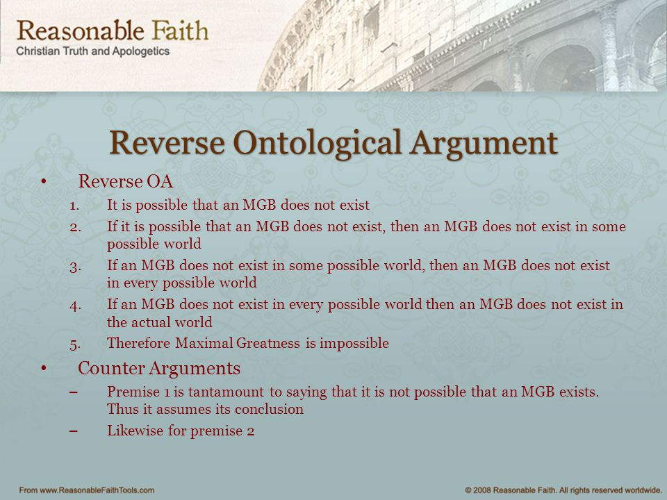 Reverse Ontological Argument