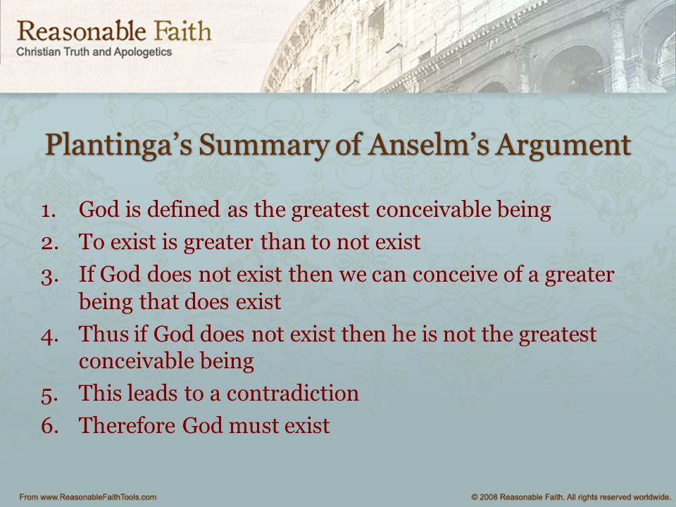 Plantinga's Summary of Anselm's Argument