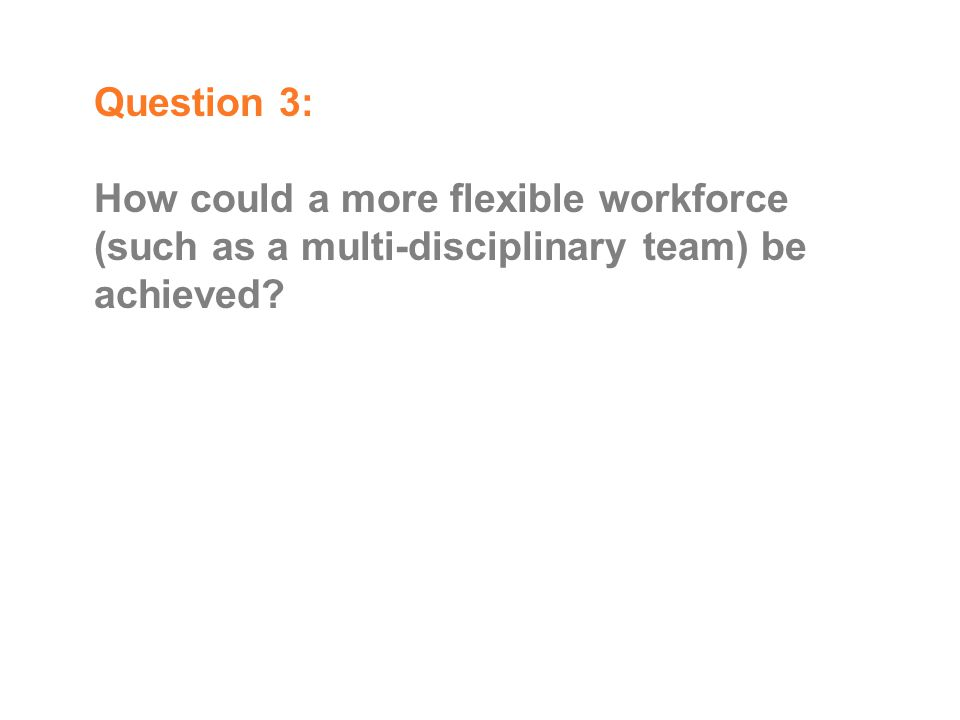 Question 3: How could a more flexible workforce (such as a multi-disciplinary team) be achieved