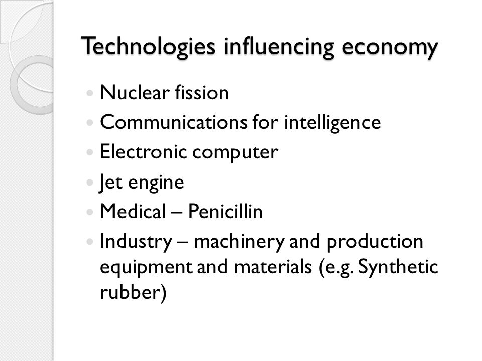 Technologies influencing economy