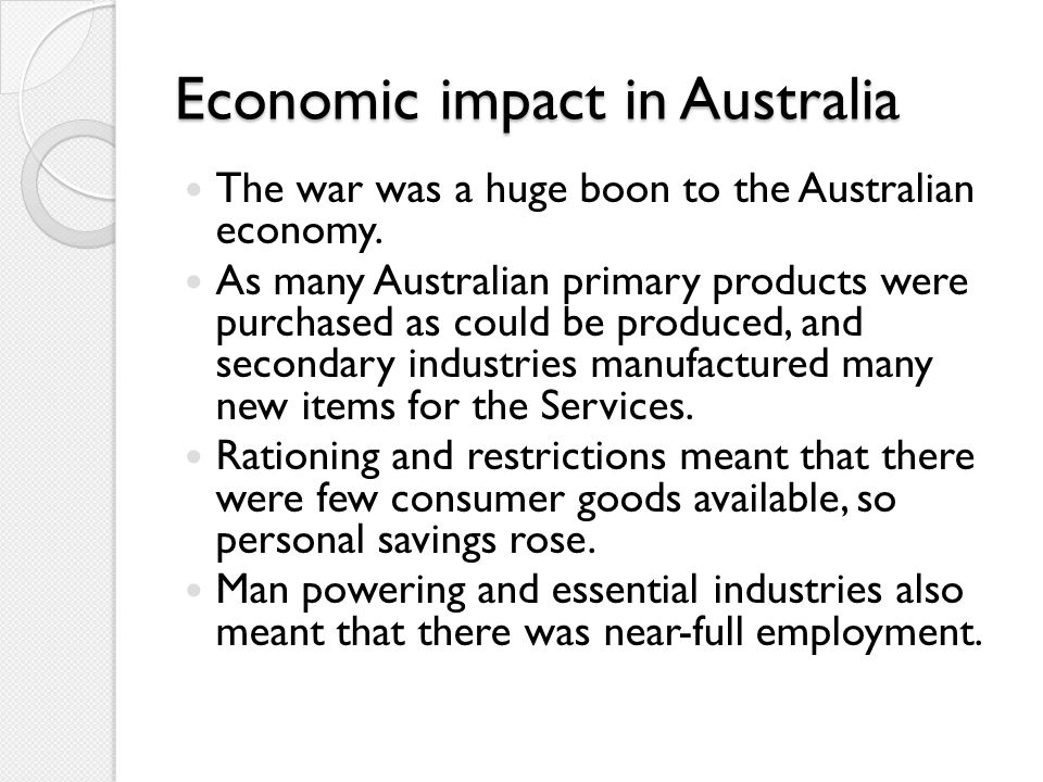 Economic impact in Australia