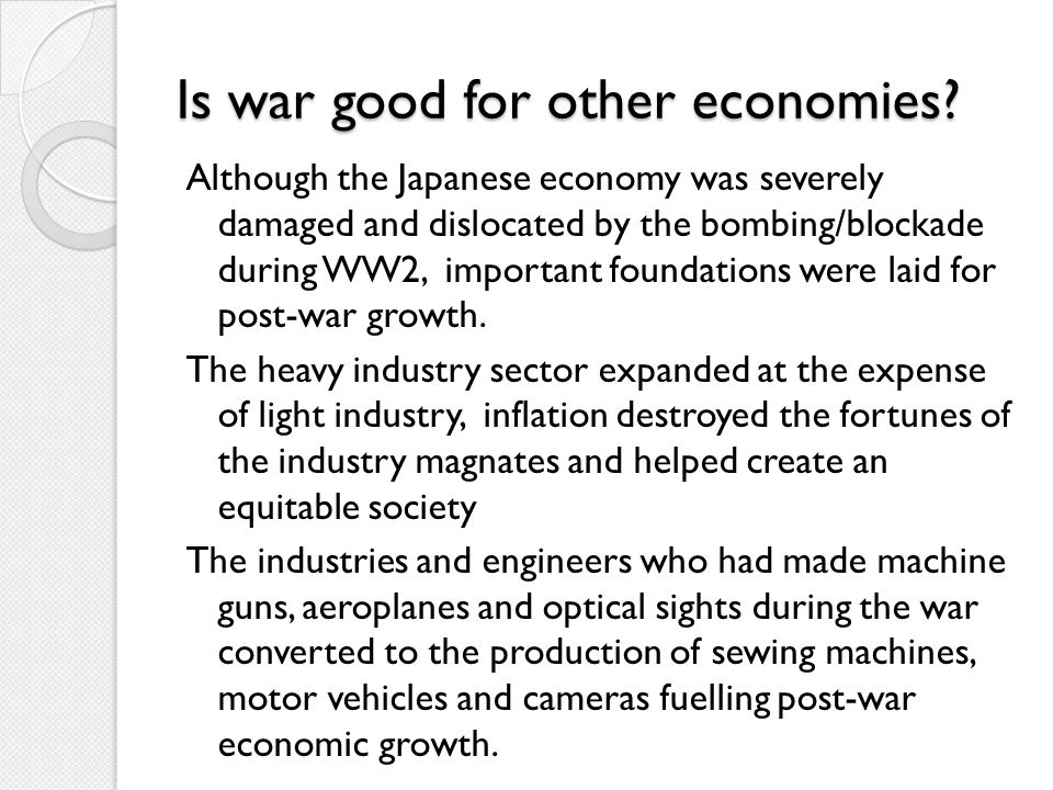 Is war good for other economies