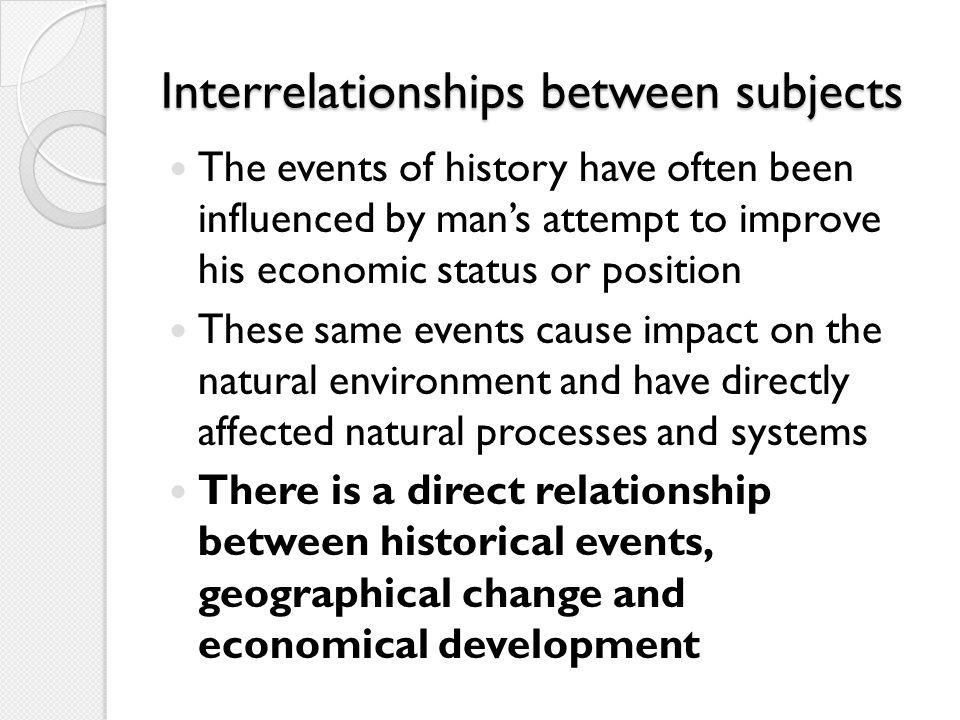 Interrelationships between subjects