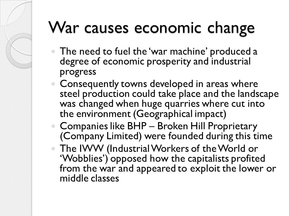 War causes economic change