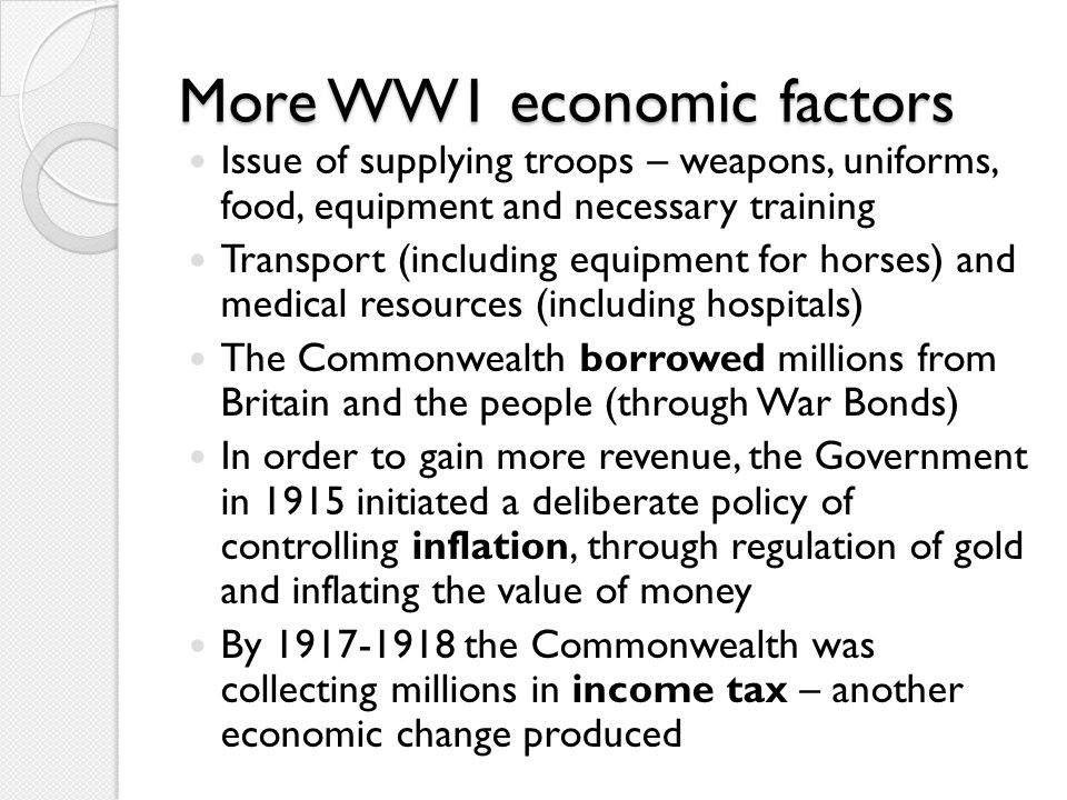 More WW1 economic factors