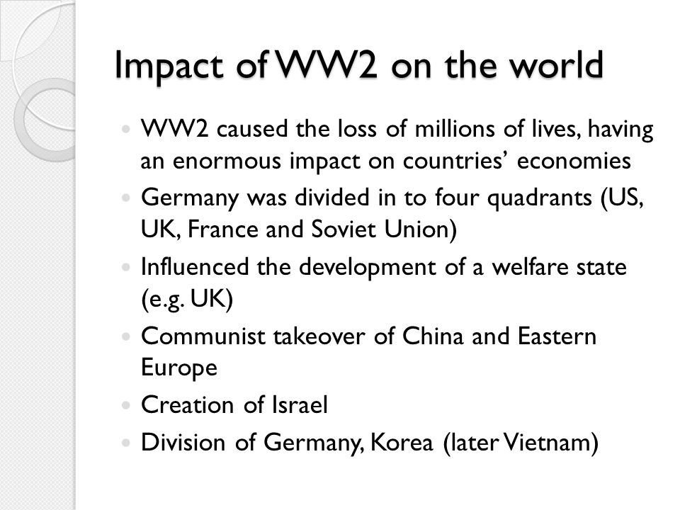 Impact of WW2 on the world