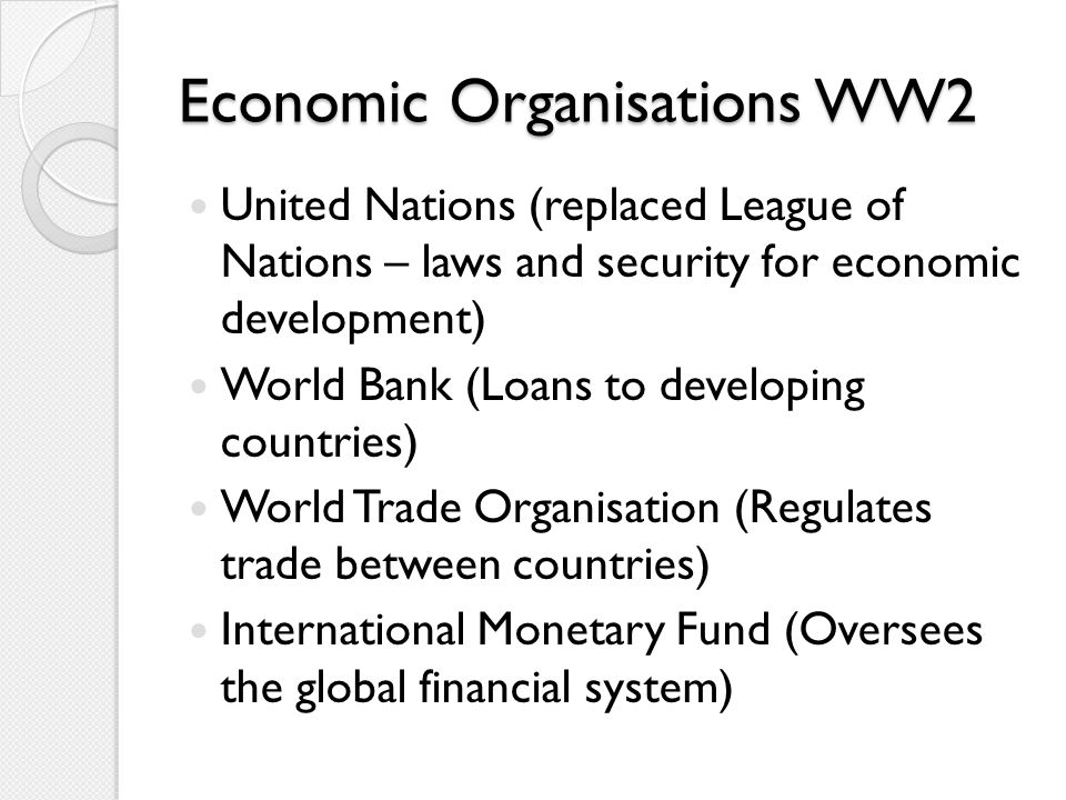 Economic Organisations WW2