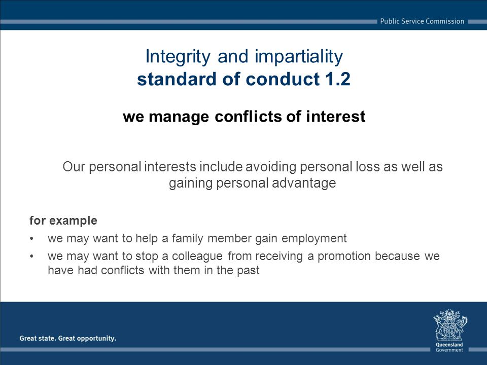 Integrity and impartiality standard of conduct 1