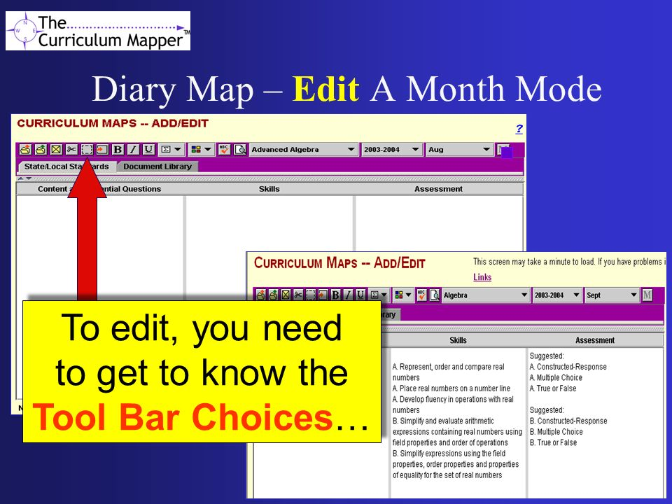 Diary Map – Edit A Month Mode