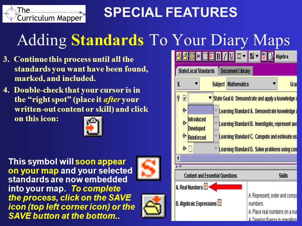 Adding Standards To Your Diary Maps
