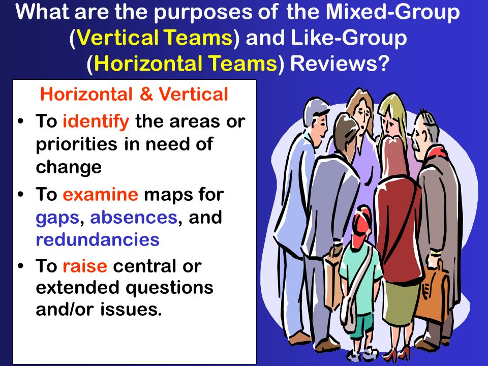 What are the purposes of the Mixed-Group (Vertical Teams) and Like-Group (Horizontal Teams) Reviews