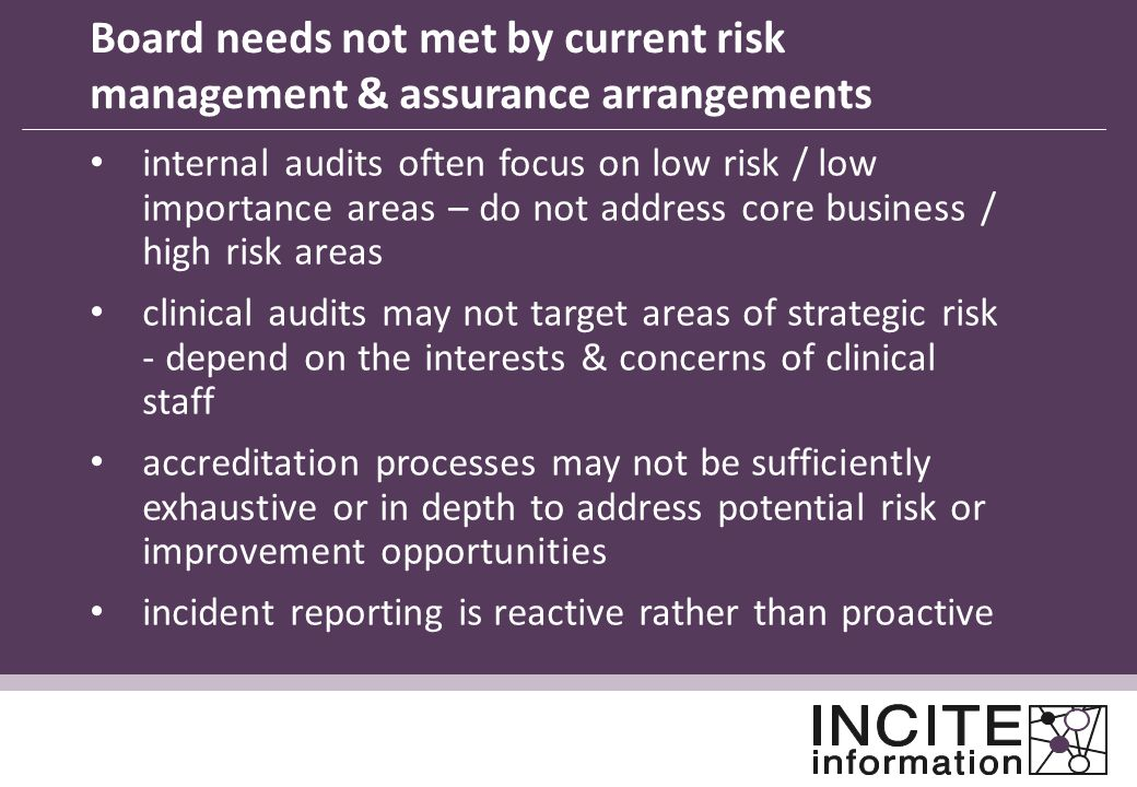 Board needs not met by current risk management & assurance arrangements