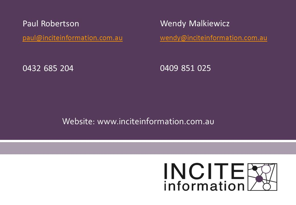 Website: www.inciteinformation.com.au