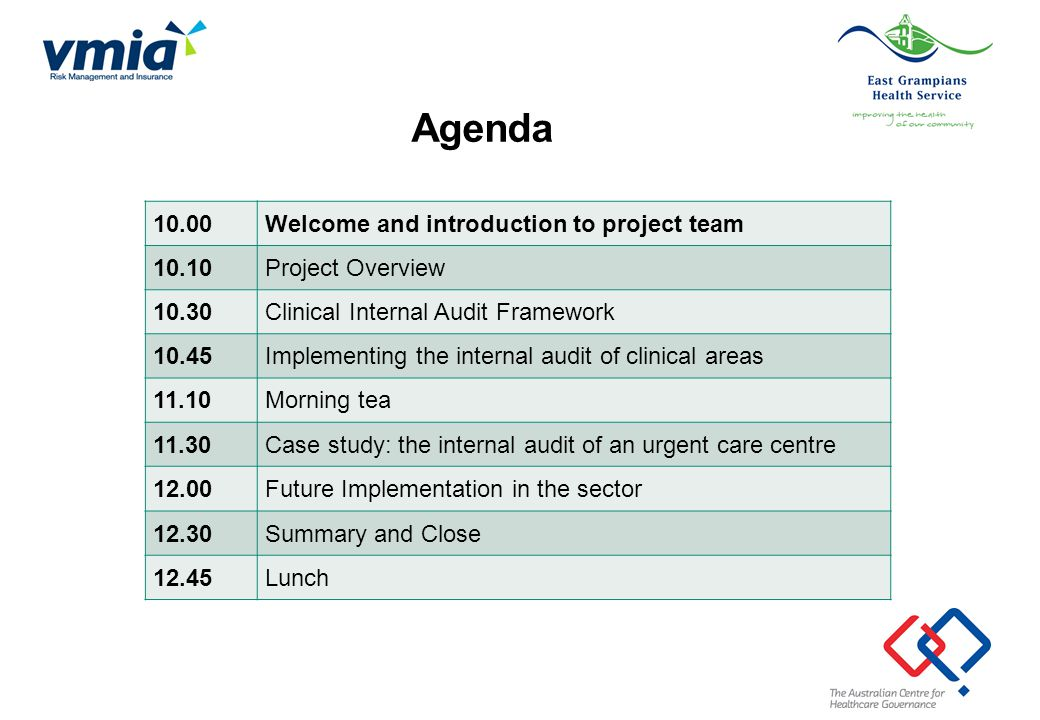 Agenda 10.00 Welcome and introduction to project team 10.10