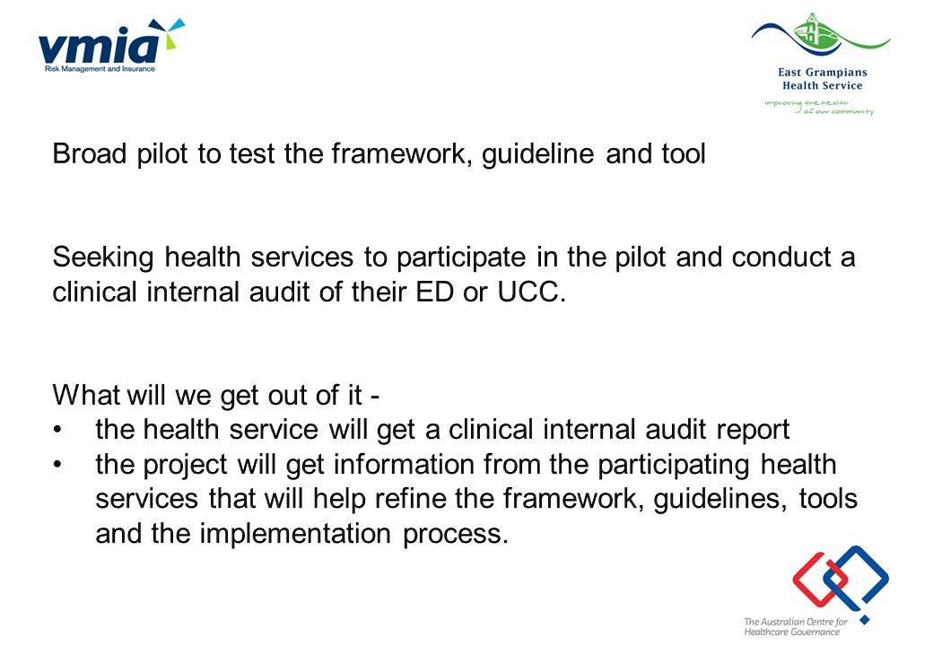 Broad pilot to test the framework, guideline and tool