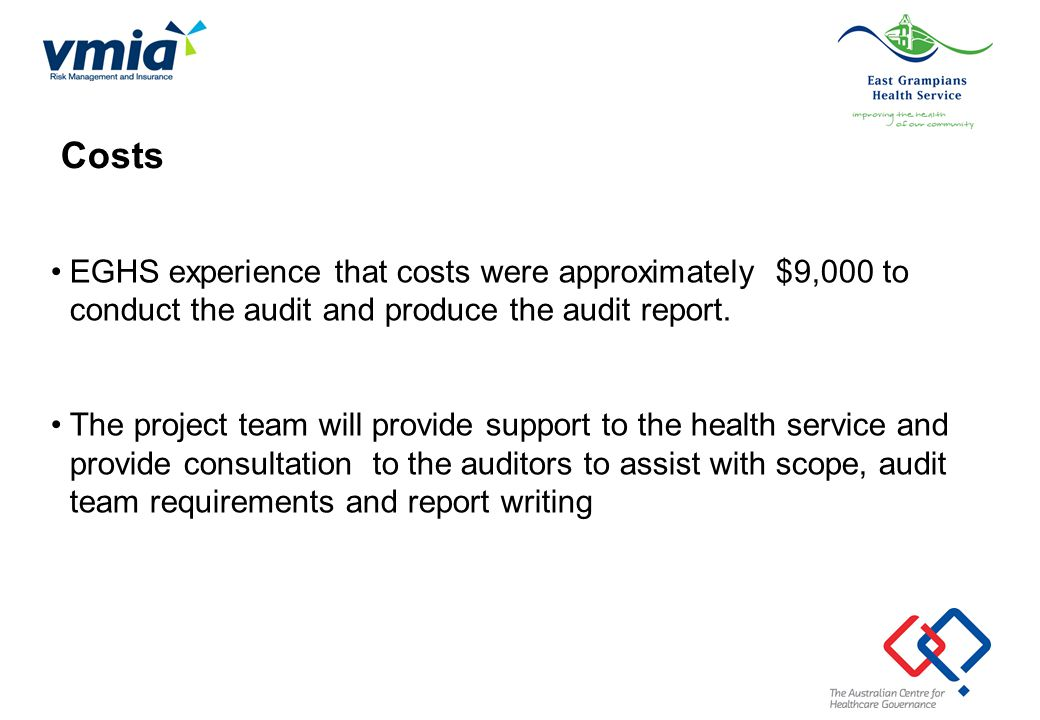 Costs EGHS experience that costs were approximately $9,000 to conduct the audit and produce the audit report.