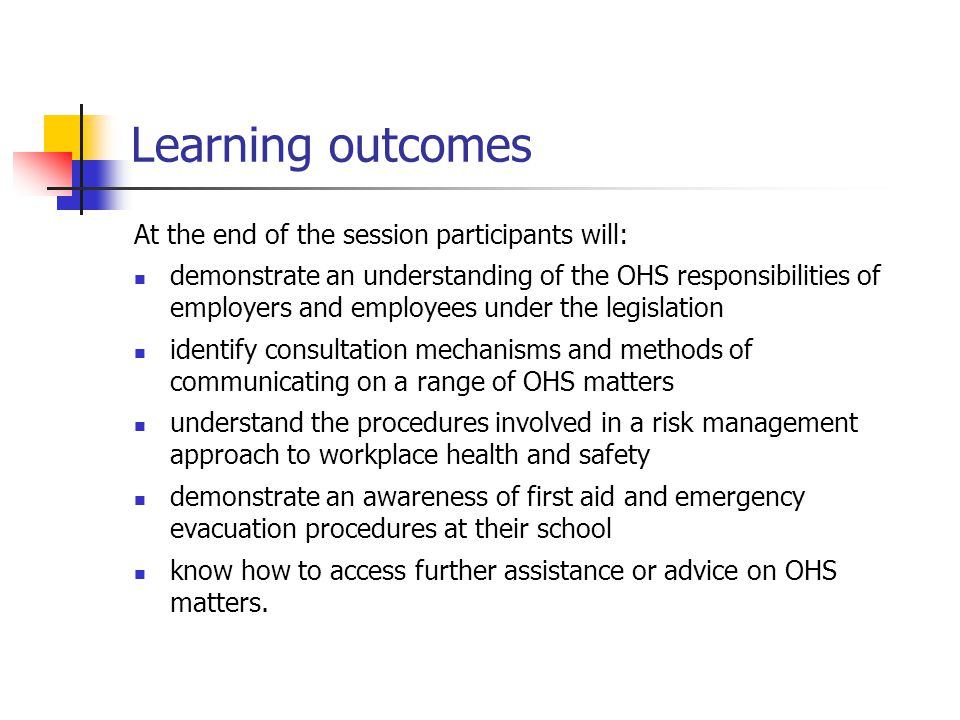 Learning outcomes At the end of the session participants will: