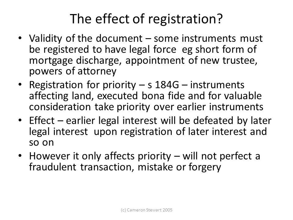 The effect of registration