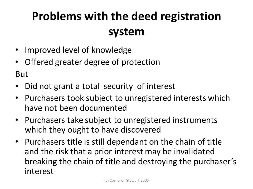 Problems with the deed registration system