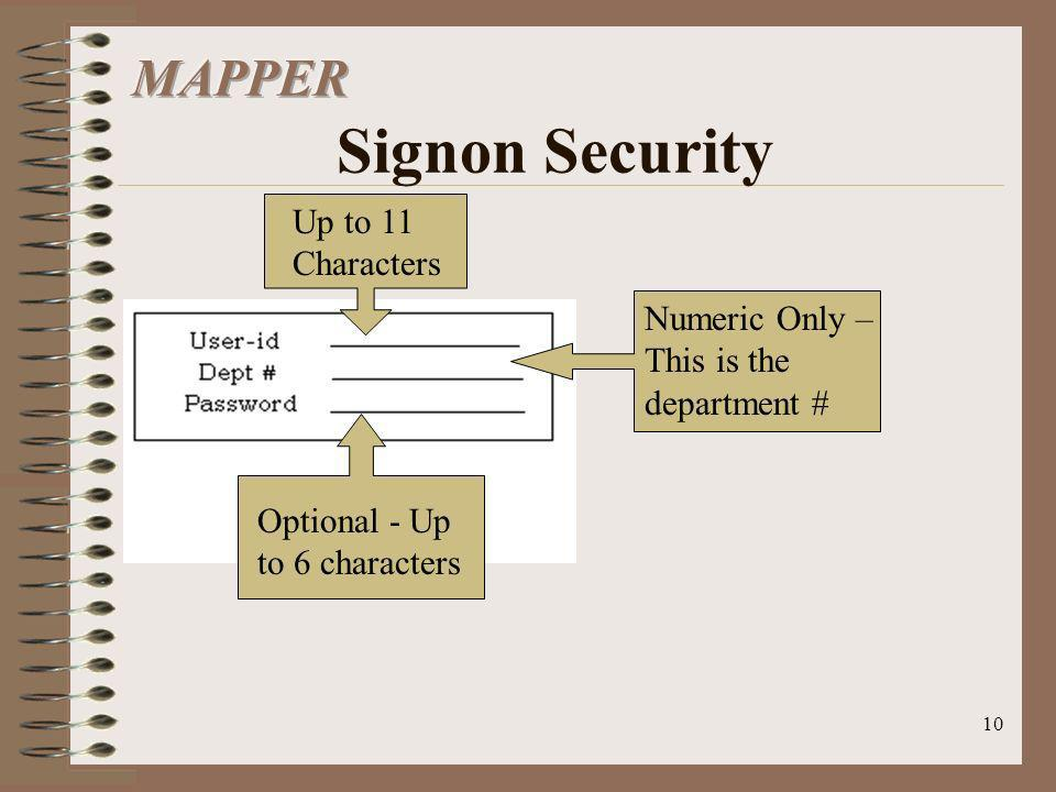 MAPPER Signon Security