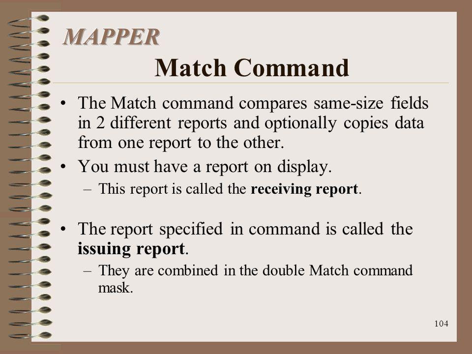 MAPPER Match Command