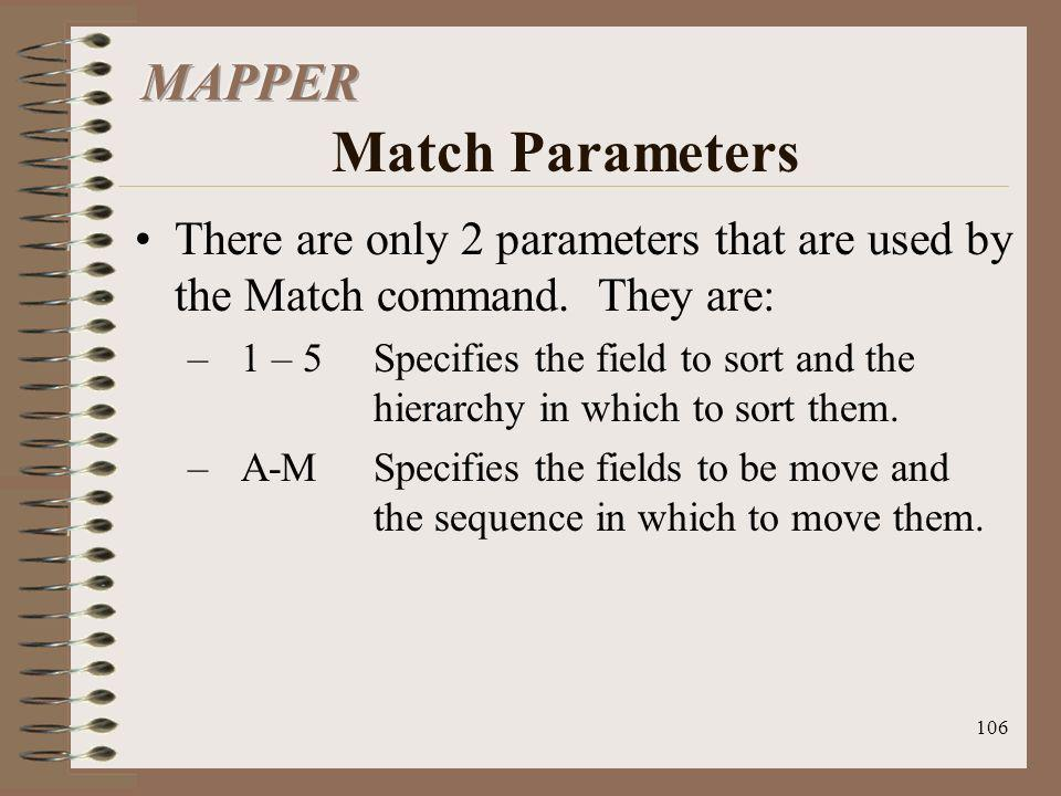 MAPPER Match Parameters