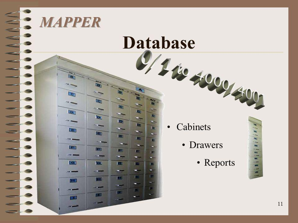 MAPPER Database 0/1 to 4000/4001 Cabinets Drawers Reports