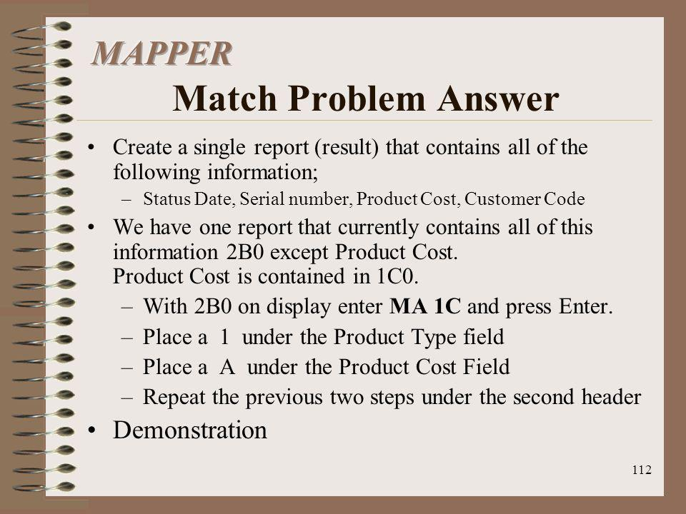 MAPPER Match Problem Answer