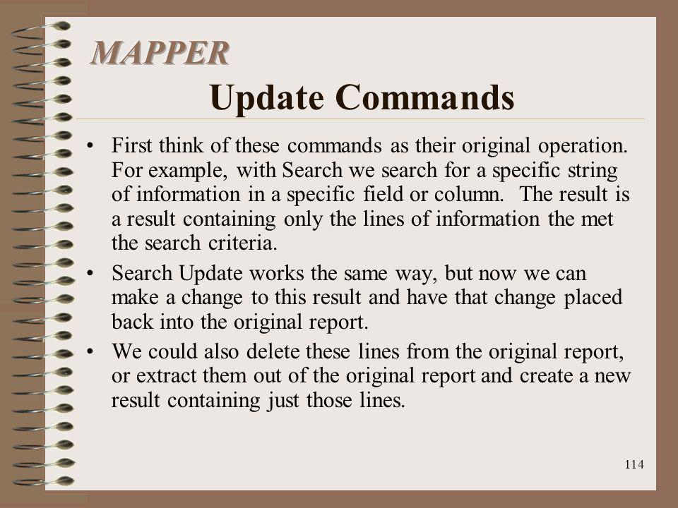 MAPPER Update Commands