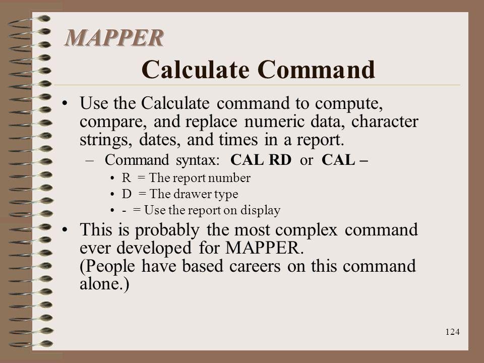 MAPPER Calculate Command