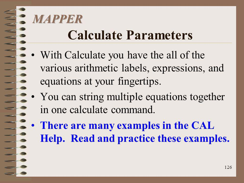 MAPPER Calculate Parameters
