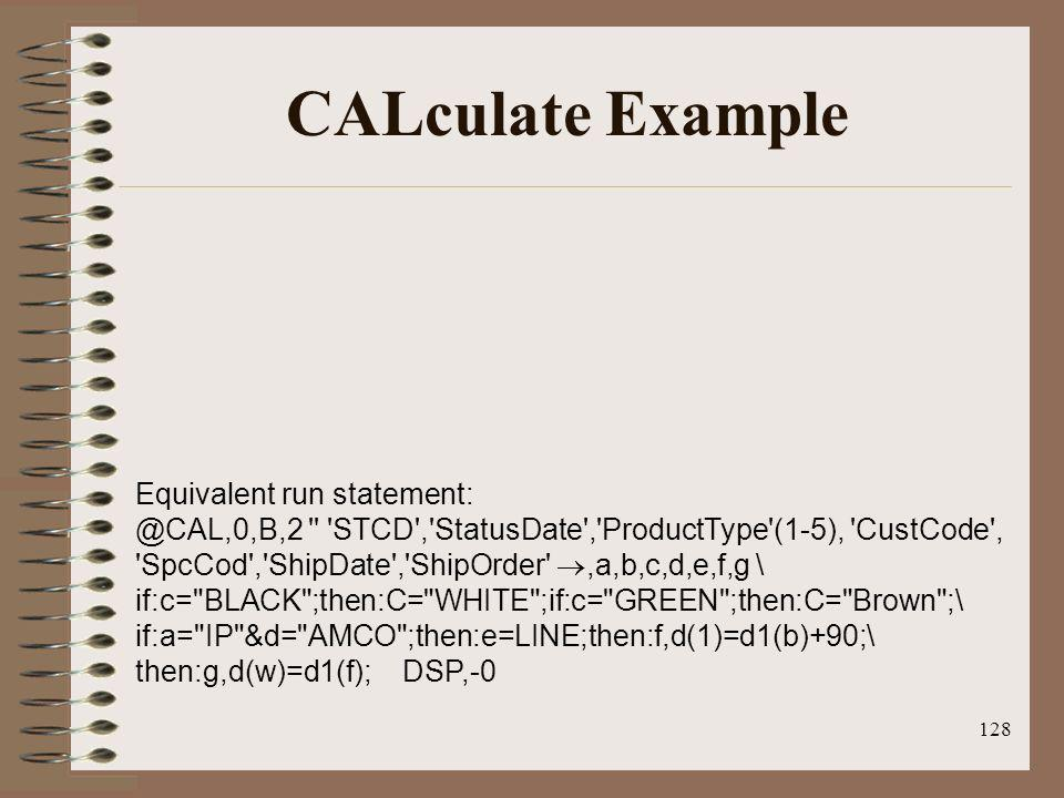 CALculate Example