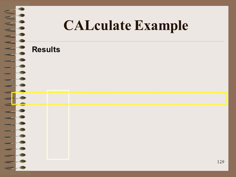 CALculate Example Results