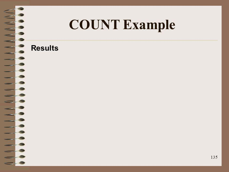 COUNT Example Results