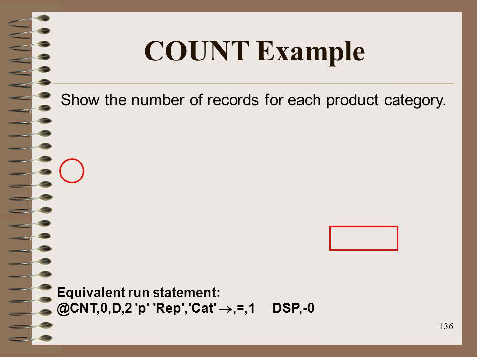 COUNT Example Show the number of records for each product category.