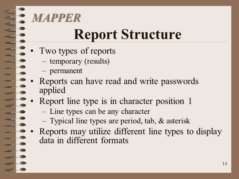 MAPPER Report Structure