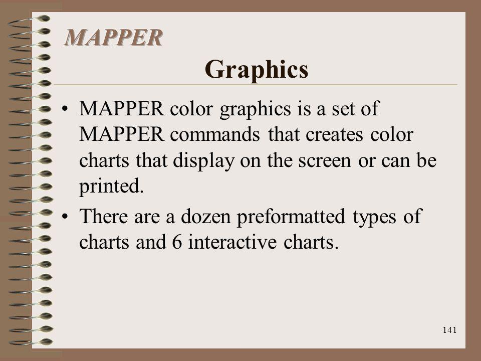 MAPPER Graphics MAPPER color graphics is a set of MAPPER commands that creates color charts that display on the screen or can be printed.