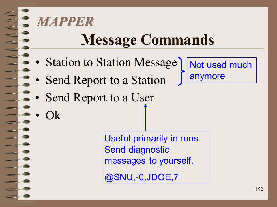 MAPPER Message Commands